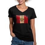Peru Flag Women's V-Neck Dark T-Shirt