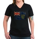 Pitcairn Islands Flag Women's V-Neck Dark T-Shirt