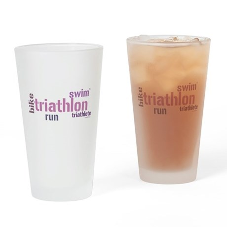 Triathlon Text Drinking Glass