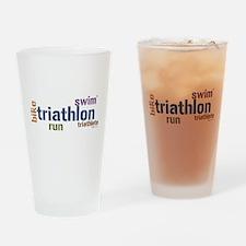 Triathlon Text Blue Drinking Glass