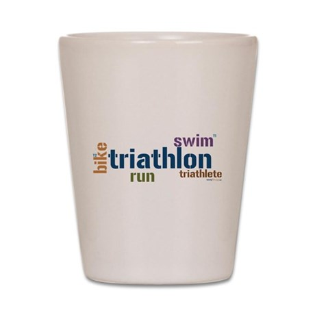 Triathlon Text Blue Shot Glass