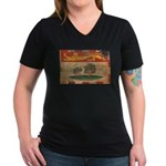 Prince Edward Islands Flag Women's V-Neck Dark T-S
