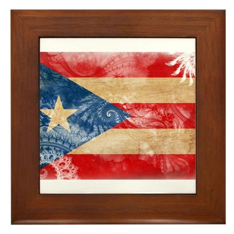 Puerto Rico Flag Framed Tile