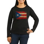 Puerto Rico Flag Women's Long Sleeve Dark T-Shirt