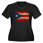 Puerto Rico Flag Women's Plus Size V-Neck Dark T-S