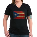 Puerto Rico Flag Women's V-Neck Dark T-Shirt