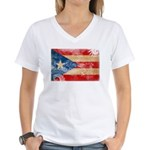 Puerto Rico Flag Women's V-Neck T-Shirt