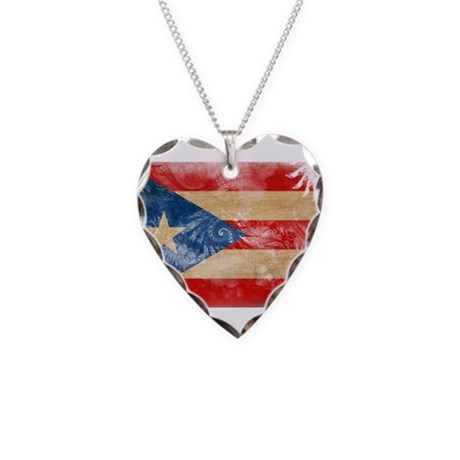 Puerto Rico Flag Necklace Heart Charm