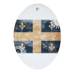 Quebec Flag Ornament (Oval)