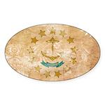 Rhode Island Flag Sticker (Oval 50 pk)