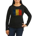 Romania Flag Women's Long Sleeve Dark T-Shirt