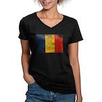 Romania Flag Women's V-Neck Dark T-Shirt