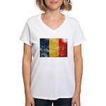 Romania Flag Women's V-Neck T-Shirt