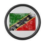 Saint Kitts Nevis Flag Large Wall Clock
