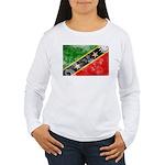 Saint Kitts Nevis Flag Women's Long Sleeve T-Shirt