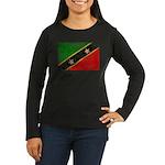 Saint Kitts Nevis Flag Women's Long Sleeve Dark T-