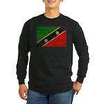 Saint Kitts Nevis Flag Long Sleeve Dark T-Shirt