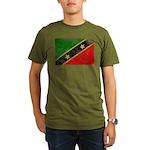 Saint Kitts Nevis Flag Organic Men's T-Shirt (dark