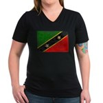 Saint Kitts Nevis Flag Women's V-Neck Dark T-Shirt