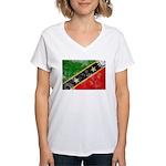 Saint Kitts Nevis Flag Women's V-Neck T-Shirt