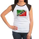 Saint Kitts Nevis Flag Women's Cap Sleeve T-Shirt