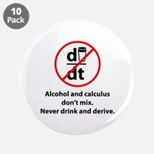 "Never drink and derive 3.5"" Button (10 pack)"