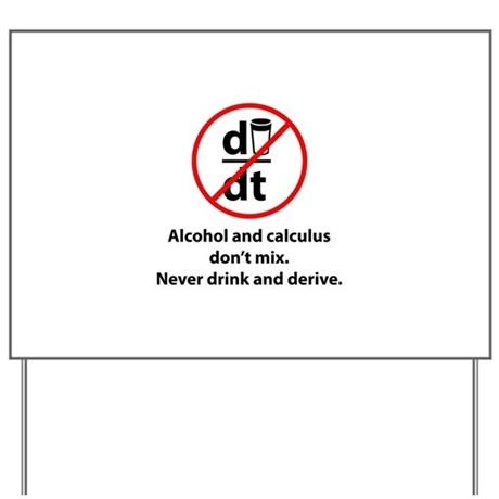 Never drink and derive Yard Sign