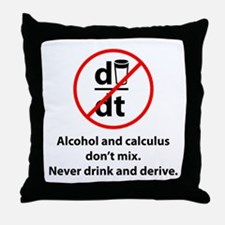 Never drink and derive Throw Pillow