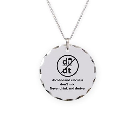 Never drink and derive Necklace Circle Charm