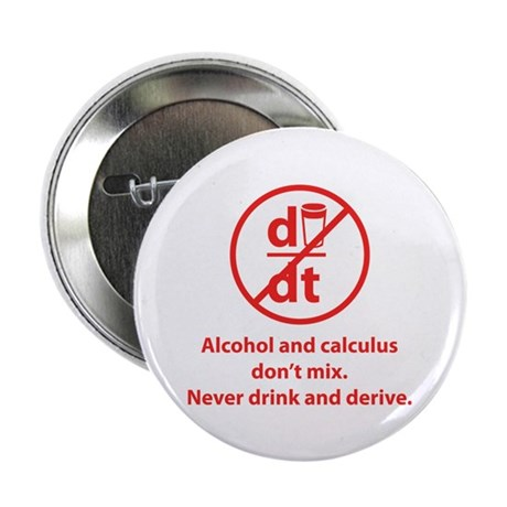 """Never drink and derive 2.25"""" Button (10 pack)"""