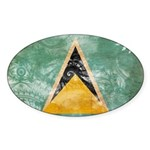 Saint Lucia Flag Sticker (Oval 50 pk)