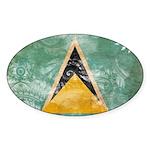 Saint Lucia Flag Sticker (Oval 10 pk)