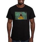 Saint Lucia Flag Men's Fitted T-Shirt (dark)