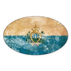 San Marino Flag Sticker (Oval)