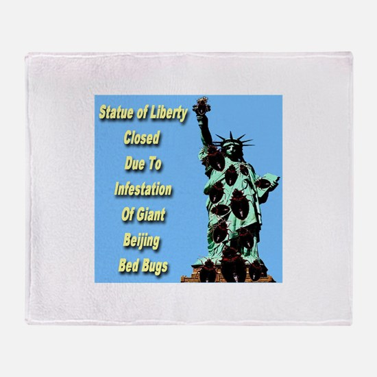 Statue of Liberty Closed Throw Blanket