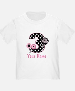 3rd Birthday Pink Black Dots T