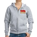 Singapore Flag Women's Zip Hoodie