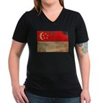 Singapore Flag Women's V-Neck Dark T-Shirt