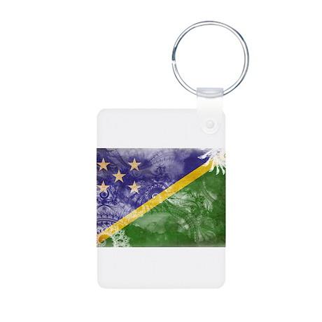 Solomon Islands Flag Aluminum Photo Keychain