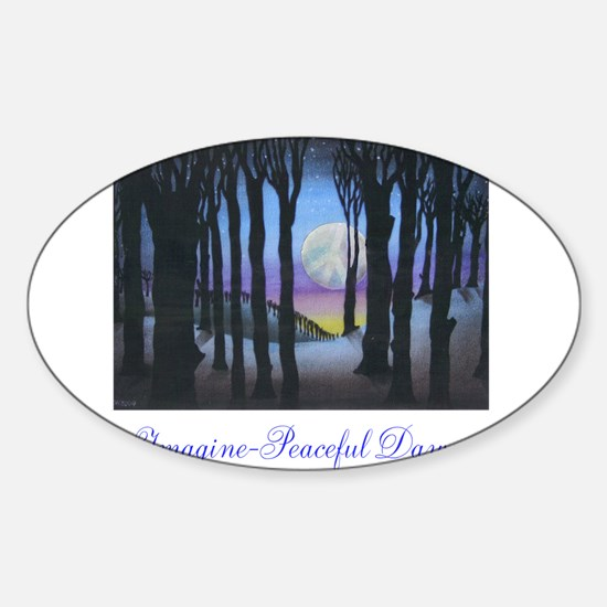 Imagine Peaceful Dawn Sticker (Oval)