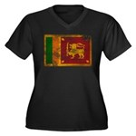 Sri Lanka Flag Women's Plus Size V-Neck Dark T-Shi