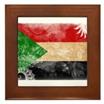 Sudan Flag Framed Tile