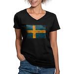 Sweden Flag Women's V-Neck Dark T-Shirt