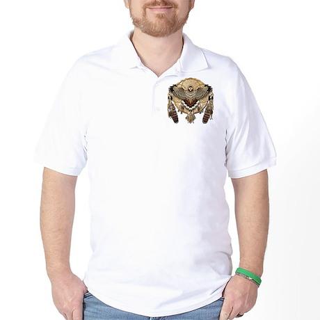 Red-Tailed Hawk Dreamcatcher Mandala Golf Shirt