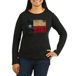 Texas Flag Women's Long Sleeve Dark T-Shirt