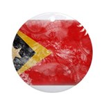 Timor Leste Flag Ornament (Round)