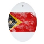 Timor Leste Flag Ornament (Oval)
