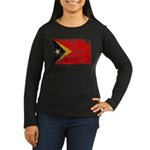 Timor Leste Flag Women's Long Sleeve Dark T-Shirt