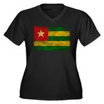Togo Flag Women's Plus Size V-Neck Dark T-Shirt