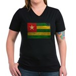 Togo Flag Women's V-Neck Dark T-Shirt